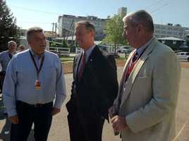 Gov. Martin O'Malley visiting the Stakes Barn and Orb ahead of the Preakness on Friday.