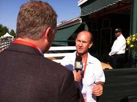 WBAL-TV 11's Pete Gilbert interviewing former jockey and NBC racing analyst Jerry Bailey