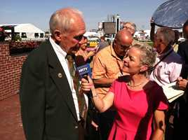 Legendary Maryland trainer King Leatherbury is interviewed by HRTV's Zoe Cadman in the winner's circle at Pimlico after his horse, Ben's Cat, won the Jim McKay Turf Sprint