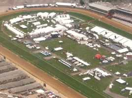 The morning of the Preakness, the infield is ready for the fans.