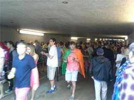 The tunnel to the infield filled up when the rain started