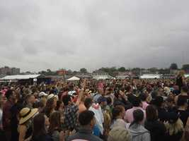 Pitbull concert goers at the infield at Pimlico.