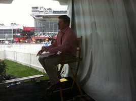 WBAL-TV Assistant News Director Tim Tunison on the 11 News infield set.