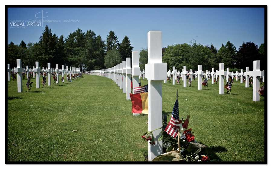 A rose, an American flag and a Belgian flag were placed on every grave of the 7,992 men who lost their lives during the Battle of the Bulge.