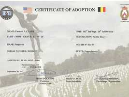 Allaert's grave adoption certificate. To find out how to adopt a gravesite from World War II, click here.