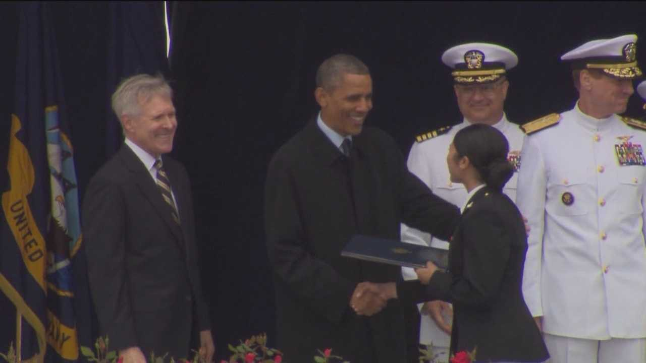 About 1,000 midshipmen graduated from the prestigious U.S. Naval Academy on Friday. They were officially sent off by President Barack Obama, who gave the commencement speech.
