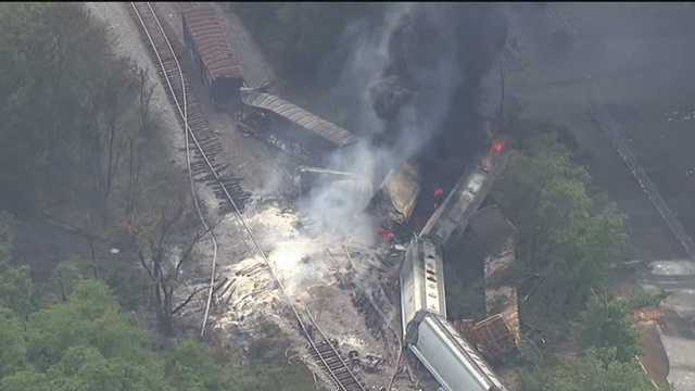 Baltimore County fire officials say a CSX train derailed in Rosedale at 2:02 p.m. Tuesday. Several witnesses reported hearing and seeing an explosion, too.