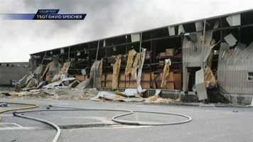 This building nearby suffered extensive damage.