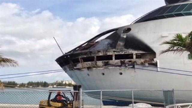 charred cruise ship