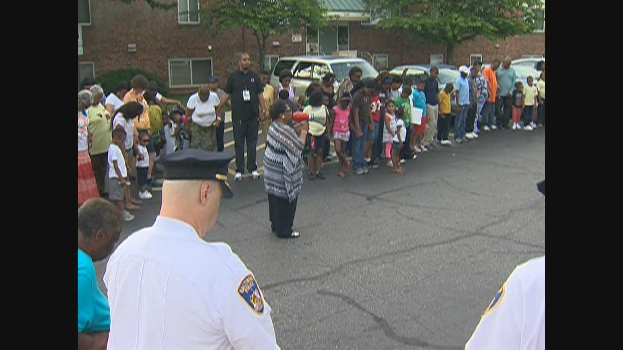 Baltimore City community leaders joined residents of the Cherry Hill neighborhood Wednesday night to remember a 1-year-old boy who was shot to death last week. George Lettis has details on the vigil.