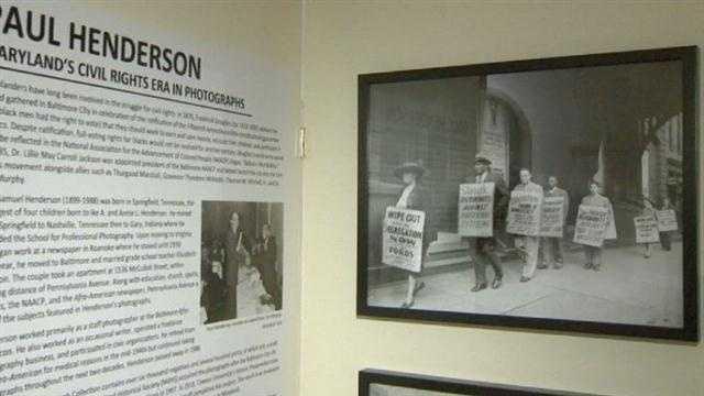 Civil rights display at City Hall