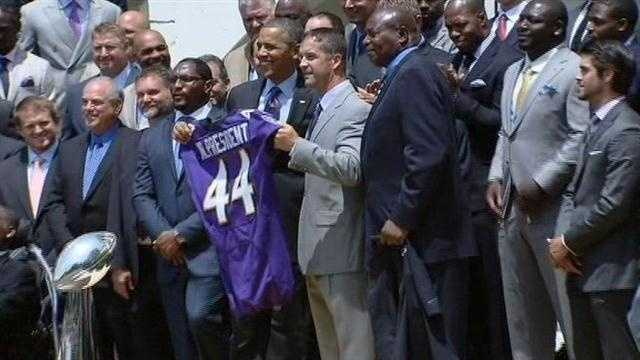 The Super Bowl XLVII champion Baltimore Ravens visit the White House for honors.