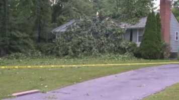 In west Laurel, a huge tree came down on a home near the intersection of Parkway Drive and Windham Road.