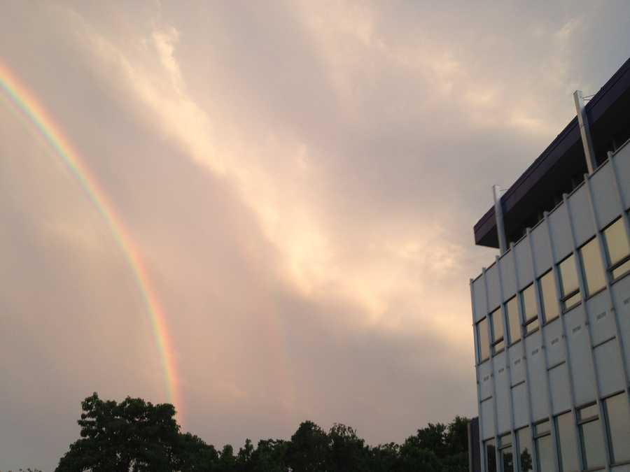 After an afternoon of severe storms, a rainbow illuminates the sky over Baltimore.