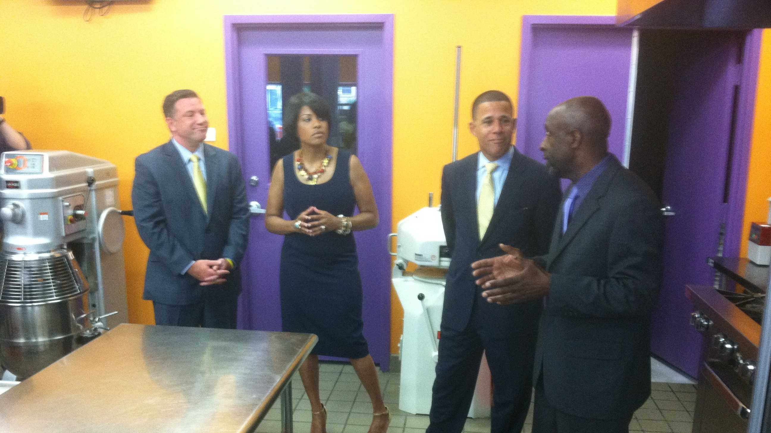 Baltimore Mayor Stephanie Rawlings-Blake visits the Avenue Bakery with Lt. Gov. Anthony Brown and his running mate, Howard County Executive Ken Ulman, as she announces her supporter for his run for governor.
