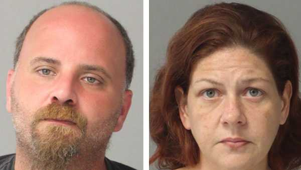 Police say Russell Leo Richards, 37 (left), and Jamie Marie Reio, 35 (right), were arrested and charged in connection with an attempted purse snatching in Annapolis.