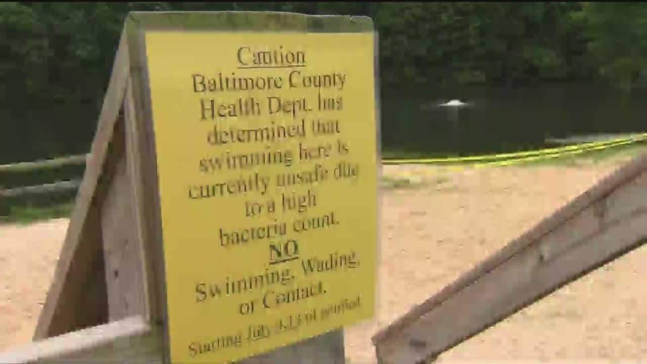 Baltimore County health officials have closed two beaches because of high bacteria counts.