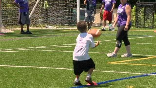 Hundreds of children got a chance to show off their skills thanks to Ravens linebacker Jameel McClain.