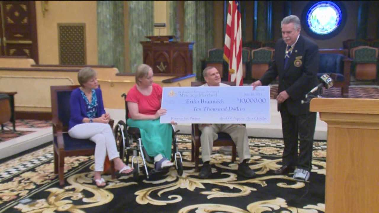 In Cockeysville on Wednesday, the Freemasons of Maryland Grand Lodge presented Boston bombing victim Erika Brannock with a $10,000 check.