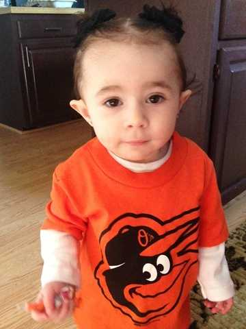 Gabriella, an O's fan at 14 months