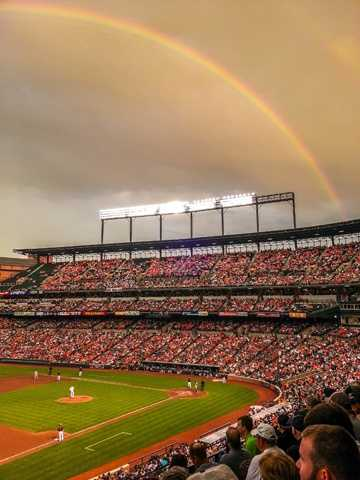 Rainbow over Camden Yards during the Yankees game