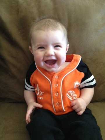 4 1/2-month-old Peyton on her first Orioles Opening Day