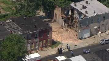 A partial building collapse in east Baltimore left a person injured Thursday.