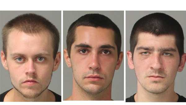 Police say James Allen Neat, 22 (left), Stefan Paul Przewlocki, 20 (middle), and Garrett Randall Sullivan, 21 (right), were arrested and charged in connection with burglaries.