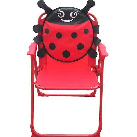 The recalled items have large ladybug images on the fabric and include a camp chair, folding chair, moon chair, double-seat swing chair and patio set that includes two chairs, a table and an umbrella.