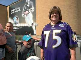 Barbara from Dundalk wearing her Jonathan Ogden jersey proudly outside the Pro Football Hall of Fame in Canton, Ohio.