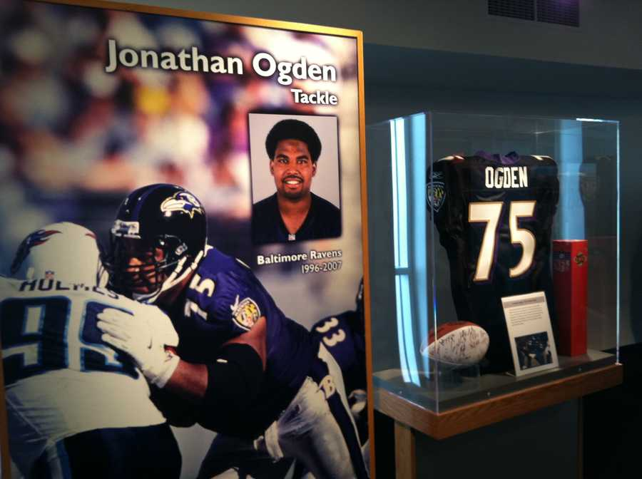 Jonathan Ogden's Class of 2013 enshrinee display in the Pro Football Hall of Fame in Canton. Ogden will be the only member of the Ravens to be inducted in 2013.