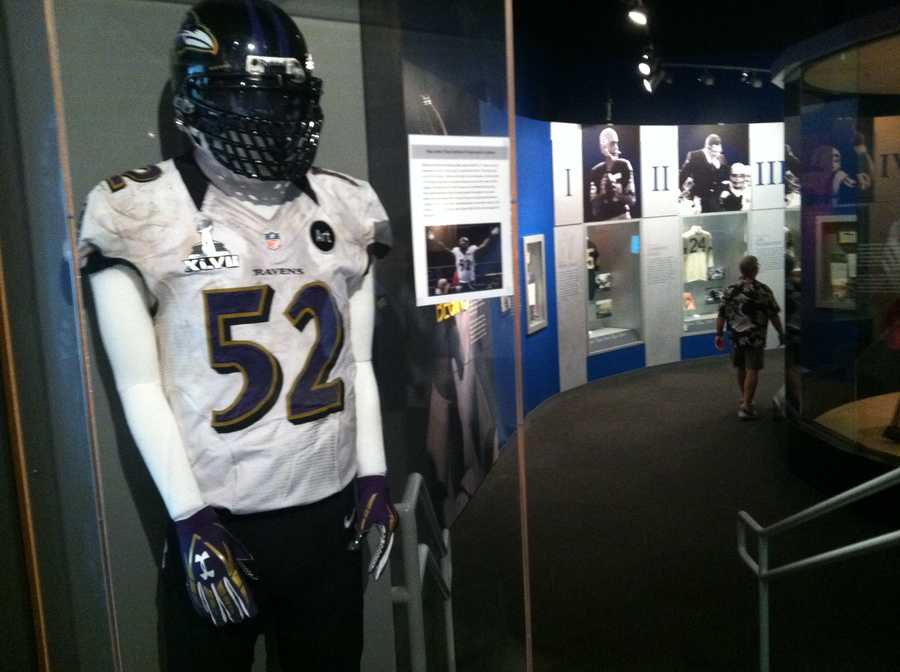 The entire uniform that Ray wore in the Super Bowl in New Orleans is on display.