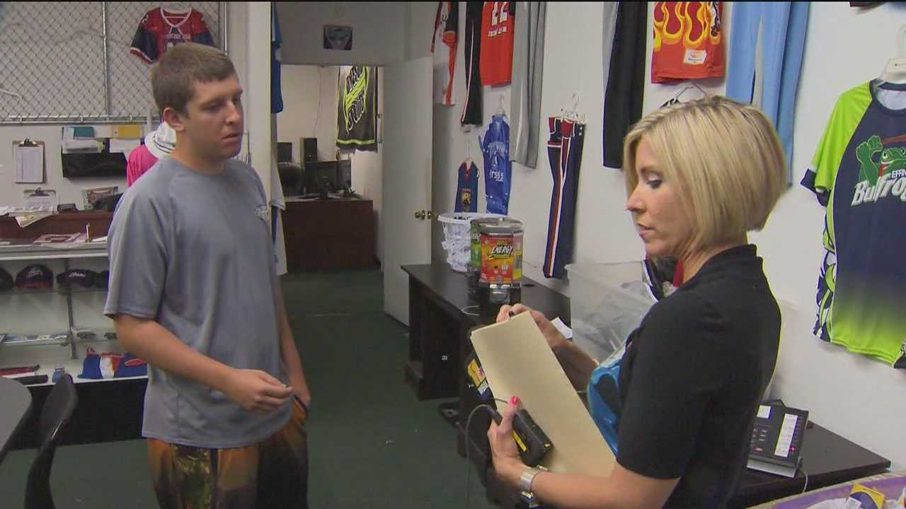 I-Team reporter Mindy Basara visits the Sports55 offices in Severna Park.