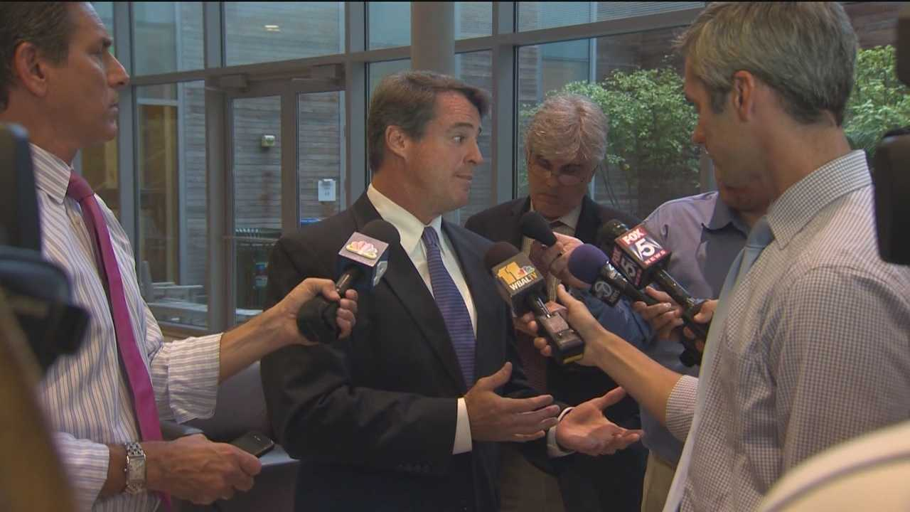 Maryland Attorney General Doug Gansler talks with reporters