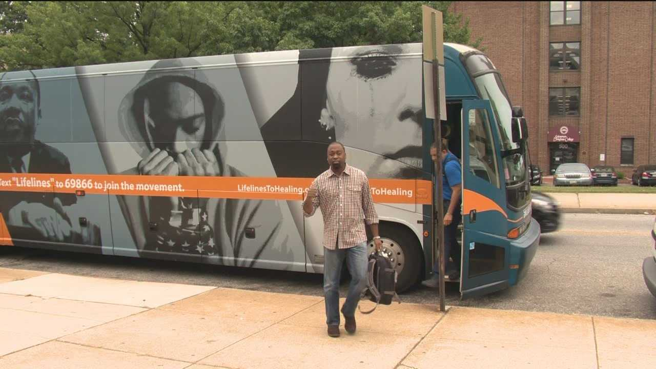 A group bringing attention to many of the struggles facing urban areas stopped in Baltimore Friday as thousands of people converge on the nation's capital for the 50th anniversary of the March on Washington.