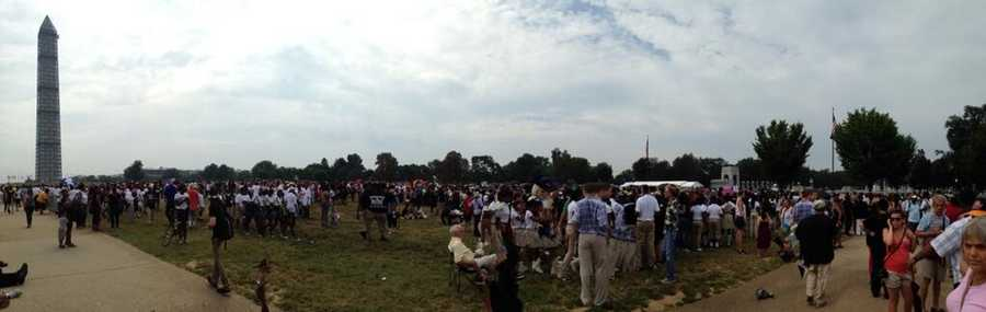The line for ticketed visitors to get to the March on Washington ceremonies.