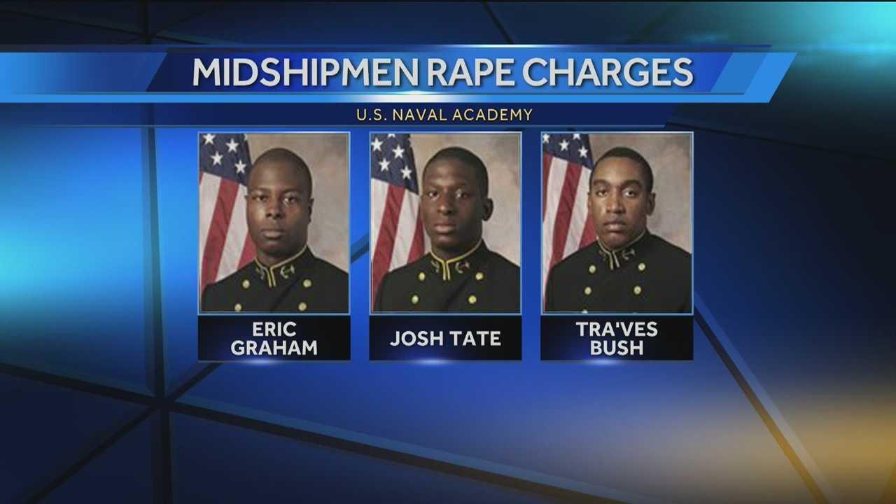 Midshipmen Tra'ves Bush, Eric Graham and Josh Tate
