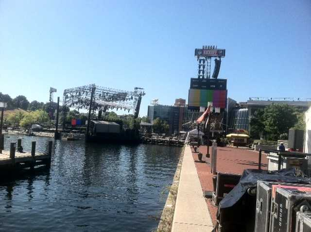 A concert stage was tugged into the city's Inner Harbor on Monday across from the Maryland Science Center so country superstar Keith Urban can perform at 6 p.m. Thursday.