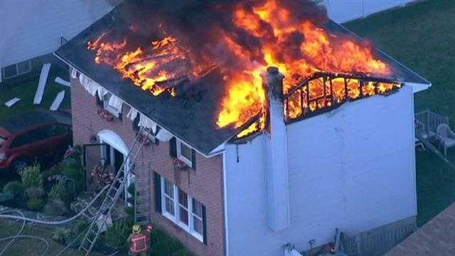 Baltimore County fire crews were busy Wednesday putting out massive flames that destroyed a home in Catonsville.