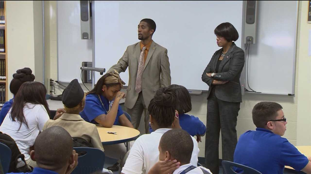 Mayor Stephanie Rawlings-Blake and City Councilman Brandon Scott visited Maritime Academy High School on Tuesday. They came with a message to the students that education means success.