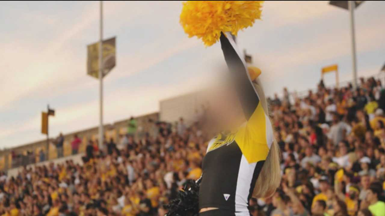 The Towson University cheerleading squad