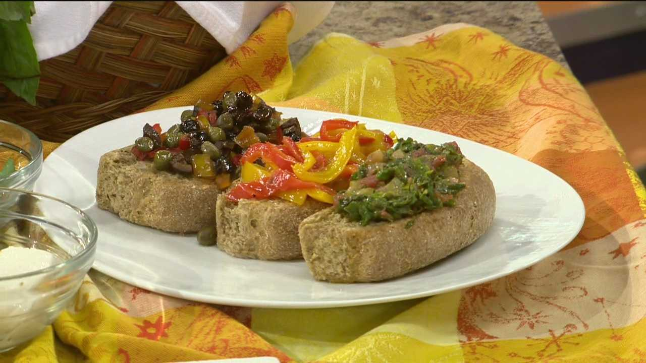 Sunday Brunch  Whole Wheat Friselle Bruschetta with Vegetables and Olives