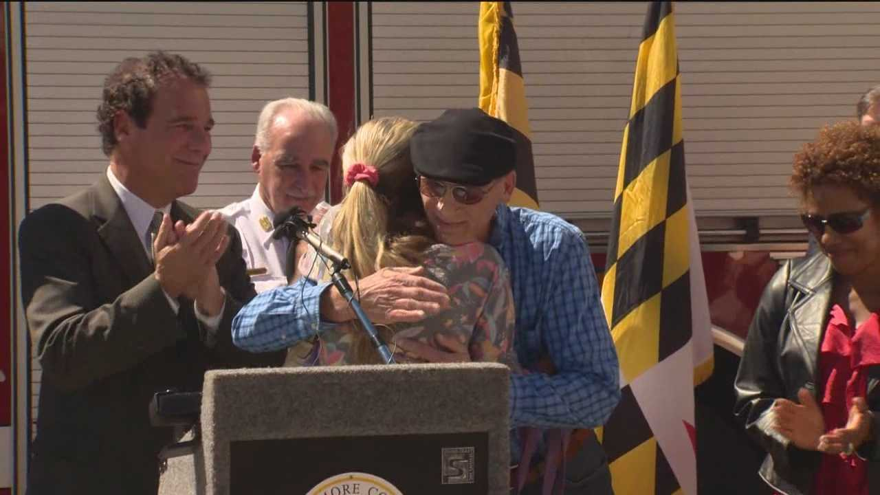 An alert and decisive trash truck driver, who is credited with saving a sleeping Catonsville couple and their dogs in a house fire, was presented with a Hero Pin from Baltimore County Executive Kevin Kamenetz.