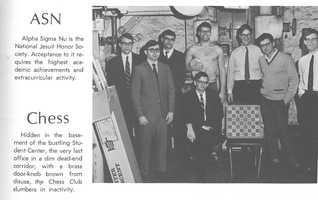 A photo of the chess club in the 1969 Loyola yearbook. Mr. Clancy is seated at center.