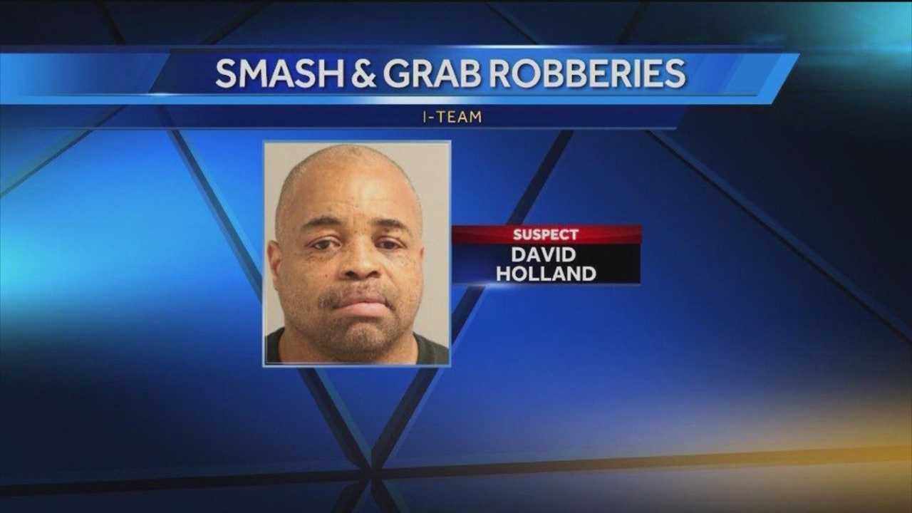 Investigators have arrested a man in connection with at least nine smash-and-grab robberies in Anne Arundel County and believe he may be responsible for more.