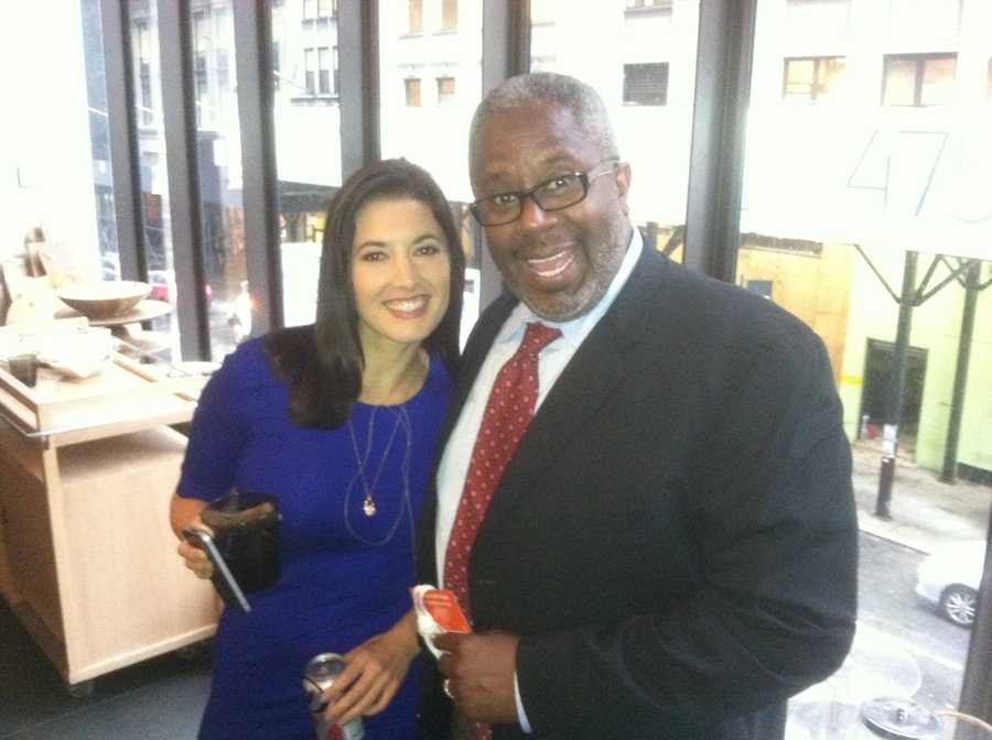 WBAL-TV 11 News education reporter Tim Tooten poses for a picture with reporter Danielle Leigh.