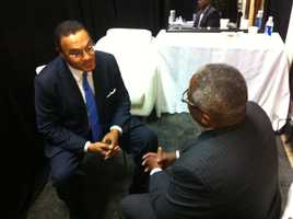 WBAL-TV education reporter Tim Tooten speaks with Freeman Hrabowski.