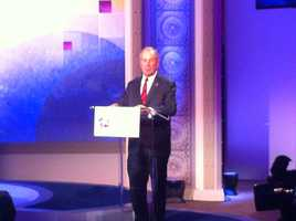 New York City Mayor Michael Bloomberg speaks at the podium during the Education Nation summit.