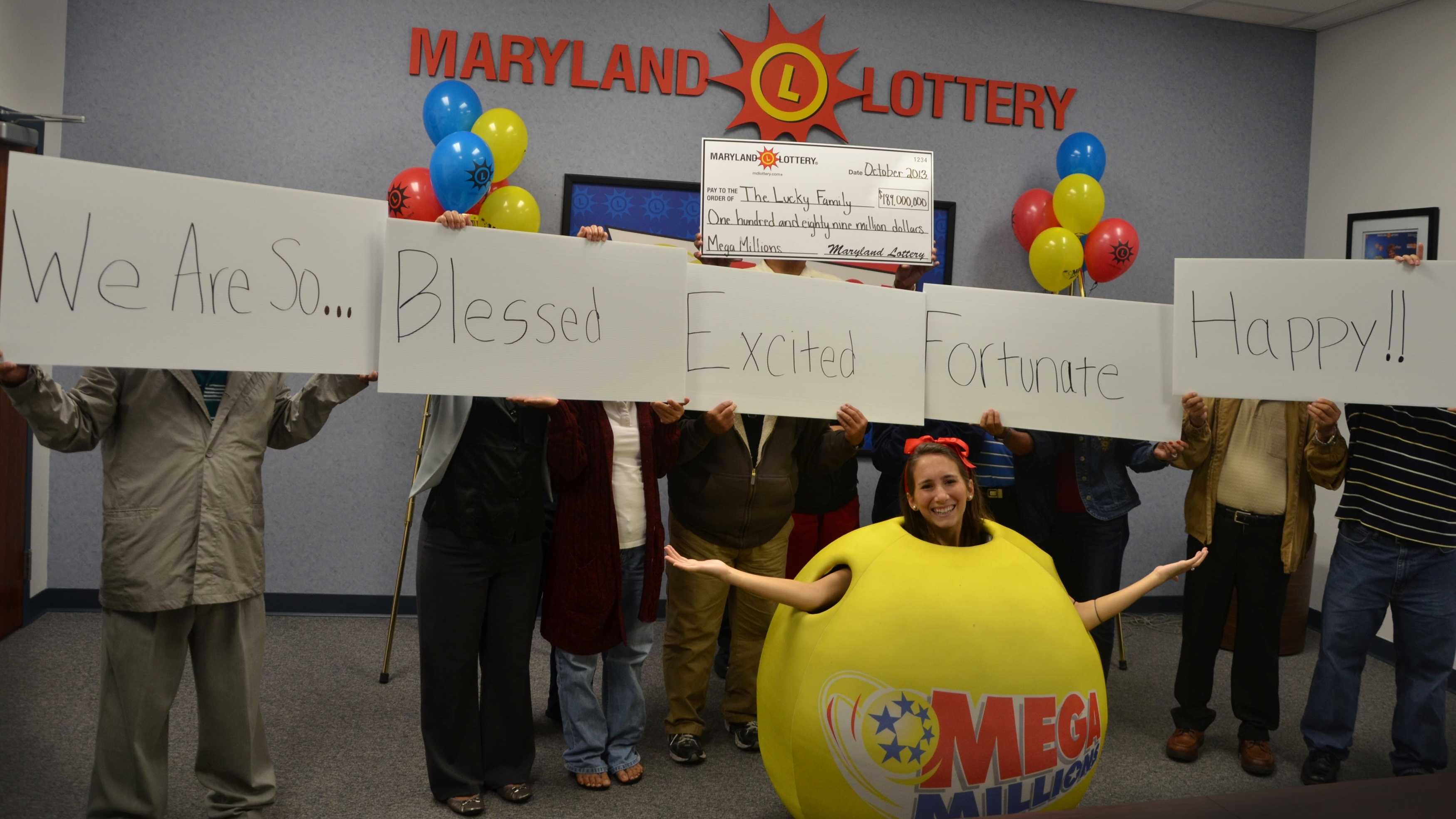 An Anne Arundel County man and his family claim the $189 million Mega Million jackpot drawing on Oct. 2, 2013.