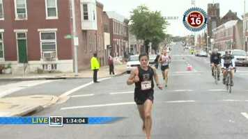 Around mile 15, Berdan gets a little confused as another runner gets lost on the course and suddenly shows up a few paces behind him. That man was disqualified.